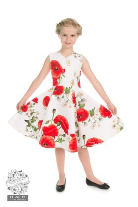 Opium Poppy Floral Dress Size 3-12 year Kr 350