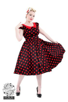 Black Red Large Polka Dot Swing Dress size 8-18 Kr 590,-