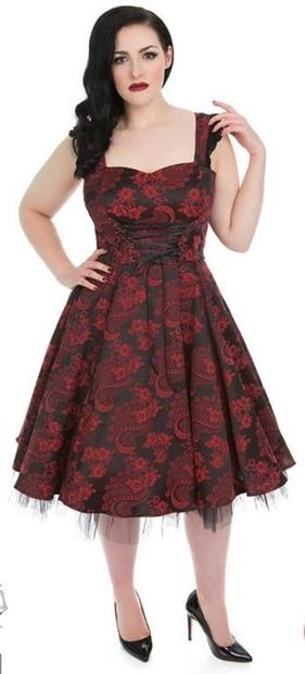 Red Marie Antoinette western kjole. Str 18-26. Also available in plus size. Kr 590