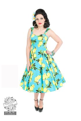 Vintage Blue Lemon Dress. Str 36-46. Also available in plus size. Kr 590-,