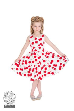 White Bombshell Cherry Swing Dress Size 3-12 year Kr 350