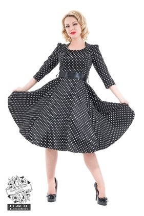 Veronica Black White Polka Dot 3/4 Sleeves Dress. Str 36-46. Also available in plus size. Kr 590-,