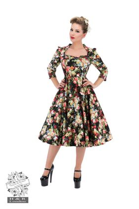 Thorny Rose Bloom 3/4 Sleeve Swing Dress. Str 36-46. Also available in plus size. Kr 590-,